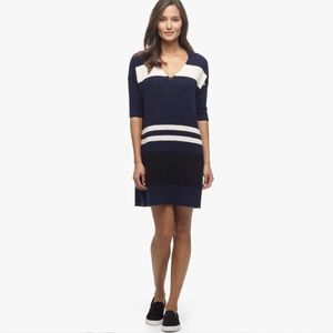 James Perse Blue Striped Cotton Terry Polo Dress